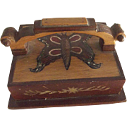 Folk Art Wood Paperweight With Butterfly