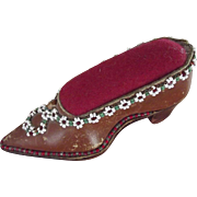 Leather Shoe With Beaded Trim Pin Cushion