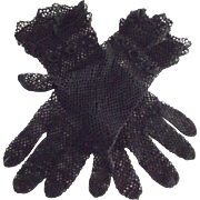 Black Crocheted Gloves With Rosettes