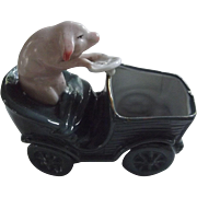 Pig Driving A Car German  Figurine