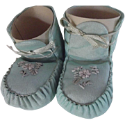 Blue Silk Baby Slippers In A Christmas Box