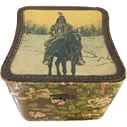 Victorian Celluloid Box With American Indian  On Horseback With Rifle Motif