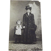 Postcard of Edwardian Mom and Daughter With Their Furs and Muffs, Fancy Hats