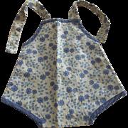 Blue Floral Print Doll's Sun Suit 40's or 50's