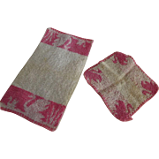 SOLD Pair of Little Doll Wash Cloths One With Swans, One With Squirrels
