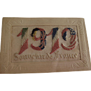 SOLD Souvenir of France Embroidered  and Embossed Postcard 1919