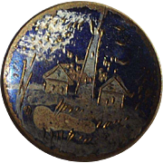 Victorian Hand Painted Brass Button Outdoor Scene