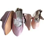 Two Pairs of Pink Leather Shoes