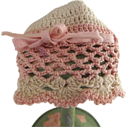 Pink and White Crocheted Hat