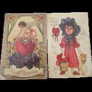 Pair of Valentine Postcards 1912