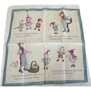 Vintage Children's Handkerchief With Nursery Rhyme