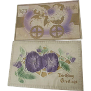Two  Embossed Postcards With Lavender/Purple Graphics One Easter, One Birthday Circa 1900