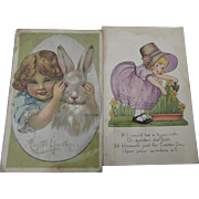 Two Easter Postcards, Child in Garden, Child with Bunny 1912 & 1922