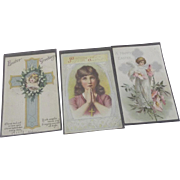 Three Religious Postcards For Easter, Crosses, Angel, 1911, 1919