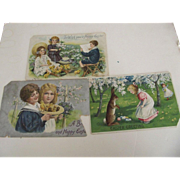 Three Easter Postcards As Is Children, Chicks, Rabbits