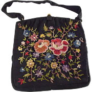 REDUCED Vintage Richel Faille Purse With Silk Embroidery