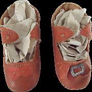 Orange Oil Cloth Antique Shoes For A Doll