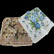 Handkerchief Lot Dogwood, Blue Tulips and  Wedding Whites