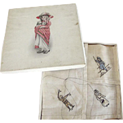 Old Child's Handkerchief In original Box, Embroidered Signal Man, Sailor Boy and Lady With Pur