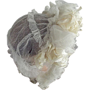 Victorian White Net Bonnet With Silk Ribbons Wedding or Graduation Small Lady, Child or Doll