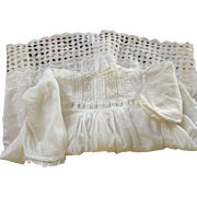 Victorian/Edwardian Baby/Toddler Dress With Embroidery, Insertion at Waist Tiny Tucks Good For
