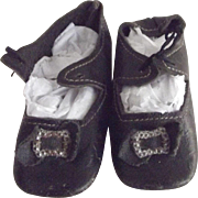 Black Leather Doll Shoes