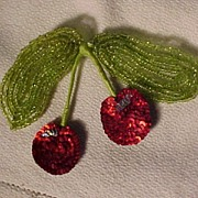 SALE Vintage Cherry Beaded Pin