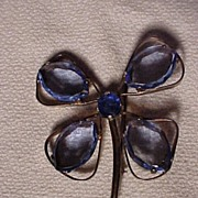 SALE Sterling Butterfly Pin with Blue Stones