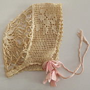 SALE Beautiful Old Crocheted Bonnet