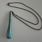 Pretty Necklace With  Blown Glass Drop and Sterling  Chain