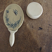 Doll's Mirror and Powder Container