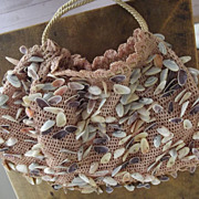 SALE Early Crocheted Purse With Sea Shells