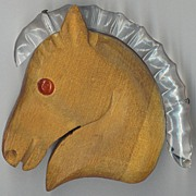 SALE Large Lucite and Wood Horse Head Pin