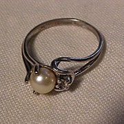 SALE Sterling Silver and Pearl Ring