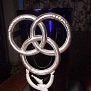 SALE Cobalt Ballantine Display Glass With Deco Holder