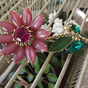 SALE Vintage Pink Flower Pin