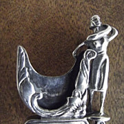 SALE Unusual Sterling Lady Golfer Pin