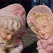 SALE Pair of Antique Victorian  Vases with Children