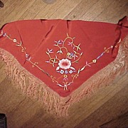 SALE Small Red Embroidered Shawl