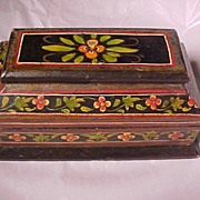 SALE Early Hand Painted Wood Box