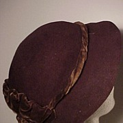 Nice Vintage Brown Felt and  Velvet Hat