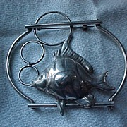 Huge Sterling Fish Pin