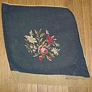 SALE Two Vintage Dark Blue Needlework Pieces