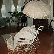 Victorian Wicker Stick and Ball Stroller For Child or Large Doll