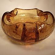 SALE 1960s Viking Crackle Glass Trefoil Pinched Bowl- Honey Amber (Topaz) color