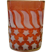 SOLD Cranberry opalescent stars and stripes glass tumbler