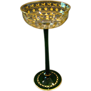 Moser tall stem gilded compote with green stem base