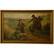 SOLD John Ward Dunsmore oil painting soldiers on horseback guns