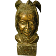 Ben Van Zetten aboriginal girl bronze bust sculpture