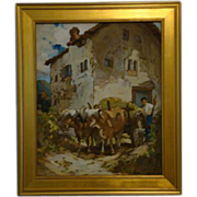 Gertrude Alice Kay gouache Italy man cattle oxen listed artist  Illustrationist